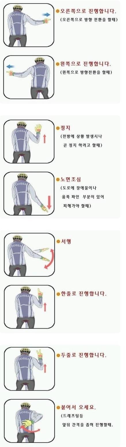 단체라이딩을 위한 필수상식, 자전거수신호