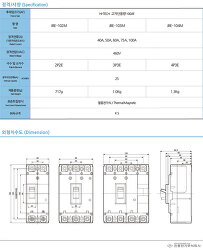 MCCB 배선용차단기 진흥전기 JBE-103M  100AF[하이테크 고차단]   제품사양 및 단가표