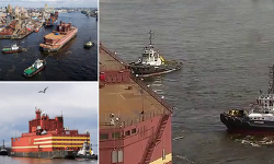 9천4백만불 짜리 러시아의 세계 첫 해상 원전발전소 VIDEO: First ever shipborne nuclear power plant dubbed a 'floating Chernobyl' arrives in the Arctic from St Petersburg ahead of its maiden mission