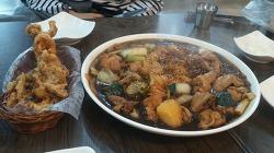 [홍찜닭]-오징어 튀김과 찜닭