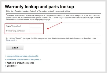 IBM 서버의 무상기간(Warranty) 조회 사이트