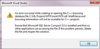 [문제해결]an error occurred while creating or opening the c++ browsing database file