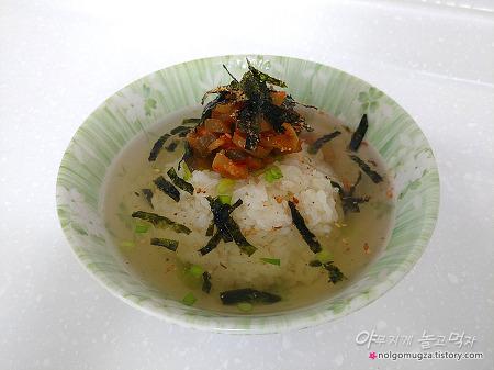 오이지 오차즈케 만들기. 입맛 없을 때 먹기 좋은 일본식 녹차밥