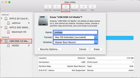 [Mac OSx] USB 메모리 포맷하기