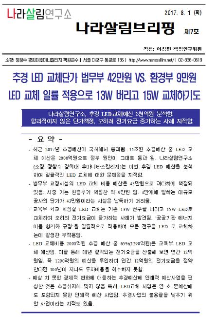 [나라살림브리핑_제7호]추경예산분석. LED 교체단가 법무부 42만원 vs 환경부 9만원