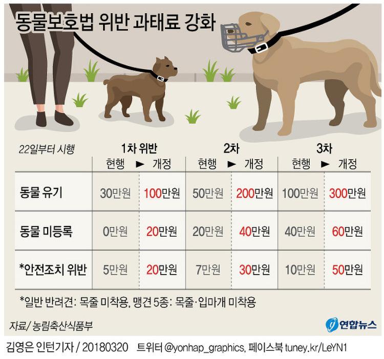 동물보호범 위반 과태료 강화 -2018년 3월
