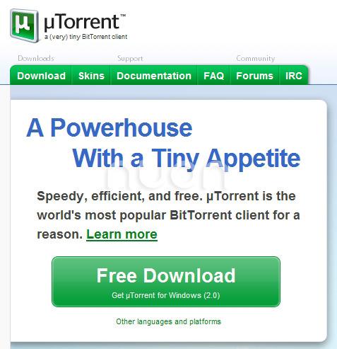 uTorrent 홈페이지