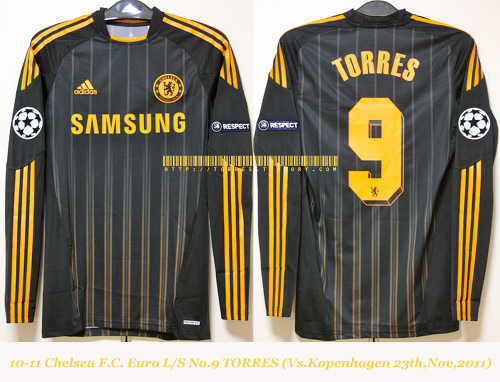 10-11 Chelsea F.C. 3rd players L/S No.9 TORRES (Vs. Copenhagen 22th,Feb,2011,UCL)