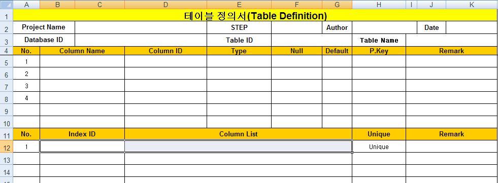 Business Intelligence 테이블 생성 스크립트 생성시 사용한 Excel 함수 스크립트