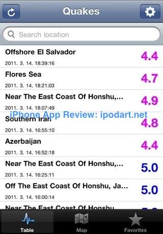 아이폰 지진 정보 Quakes Live