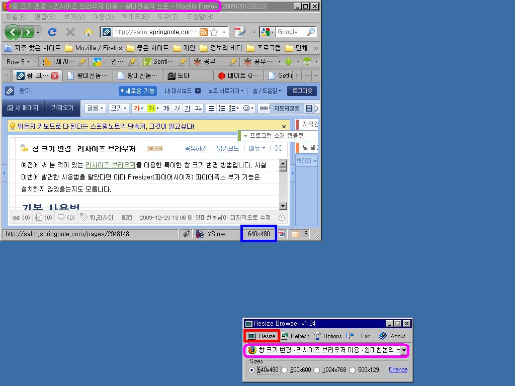 리사이즈 브라우저를 이용하여 640x480 크기로 바뀐 파이어폭스 창