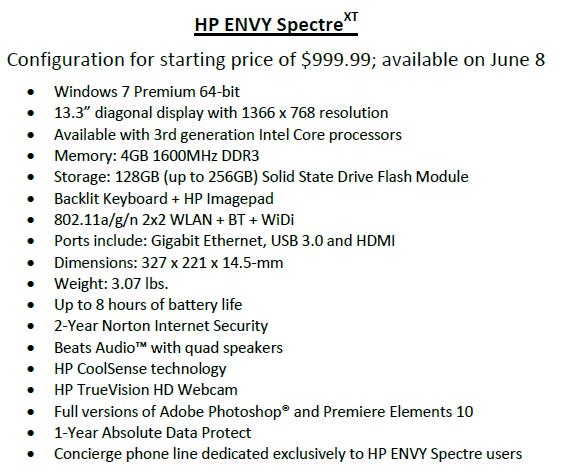 HP 엔비 스펙터 XT Spec