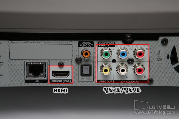 블루레이 플레이어(BD590)의 AV 기기 확장 포트로 HDMI, 컴포넌트, 컴포지트 단자가 있다.