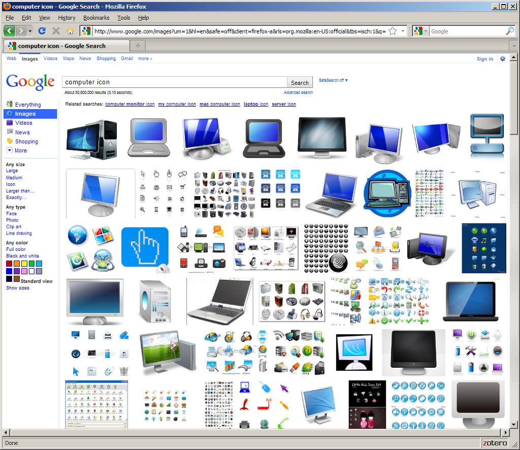 google.com에서 PC용 아이콘을 검색한 모습
