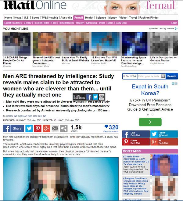 똑똑한 여성-데이트-미팅-소개팅-맞선-커플-결혼-신혼-신혼부부-소개팅-미팅-캠퍼스커플-intelligent women-attractive men-date-female preference-intelligent women-Social Psychology Bulletin