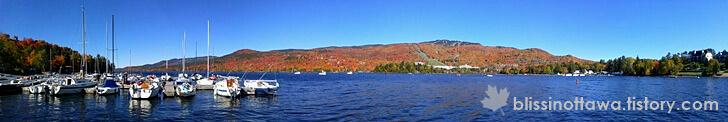 가을 호수 파노라마 사진