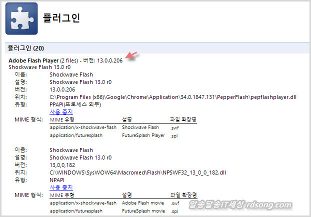 크롬 34.0.1847.131 어도비 플래쉬 플러그인 13.0.0.206