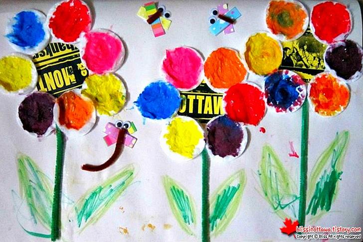 엄마표 유아 미술놀이 화장솜을 활용한 꽃