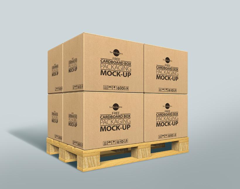 파레트 위에 쌓인 박스 목업 PSD - Free PSD Cardboard Box Mockup
