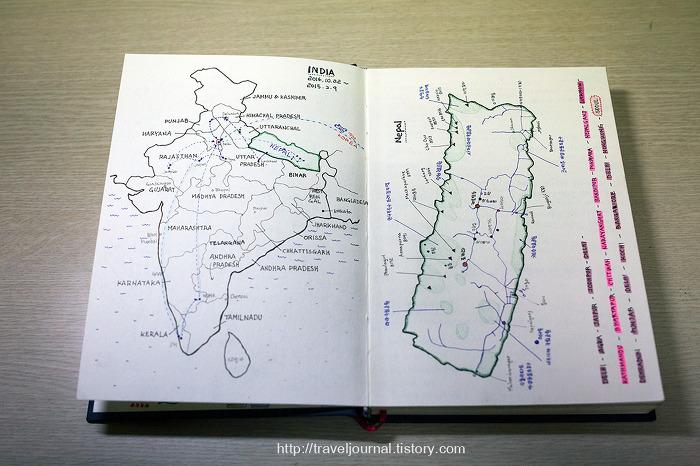 인도와 네팔 여행지도