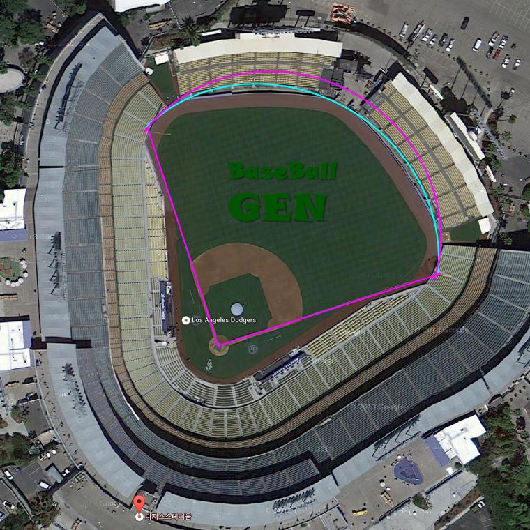 다저스 홈구장 다저스타디움 vs 잠실 야구장, 목동 야구장 크기 비교