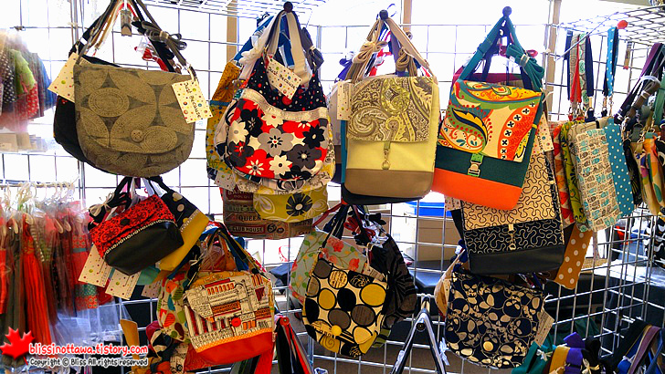 캐나다 오타와 수제품 시장 ;  미싱(재봉질)으로 만든 천 가방