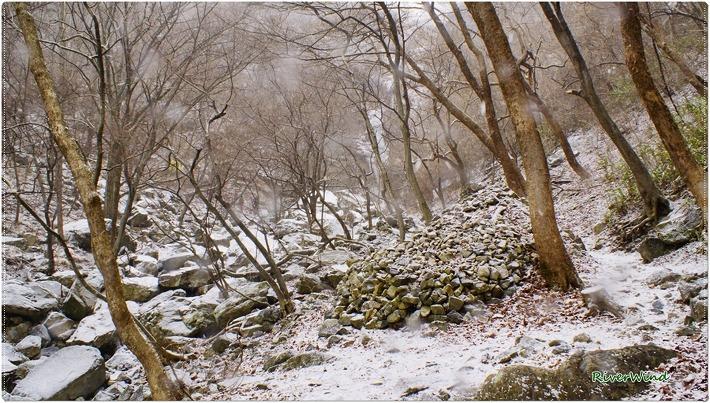 눈오는 간월재 등산