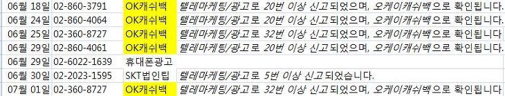 ok캐쉬백 스팸, 오케이캐쉬백 스팸, 오케이캐시백, okcashback, 스팸전화 차단,