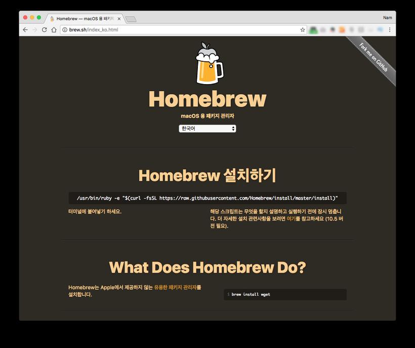 Homebrew 공식 사이트 캡쳐
