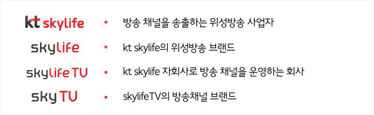 kt skylife, skylife, skylife tv, skytv 차이 소개
