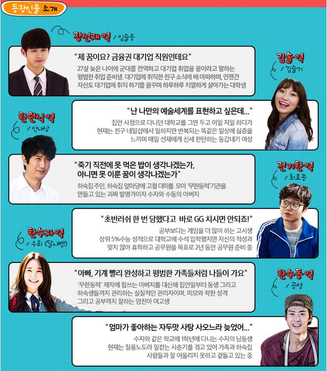 SNS 드라마 무한동력 등장인물 소개