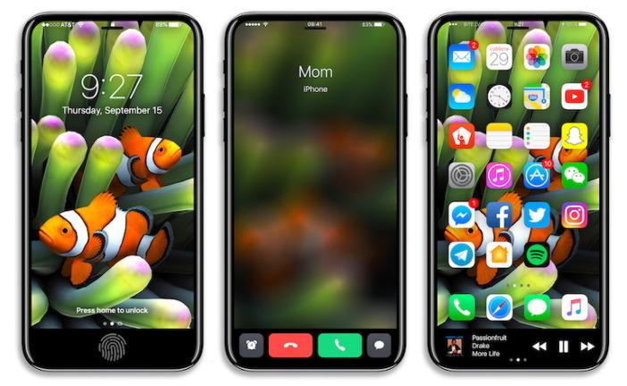 곡면 디스플레이가 적용된 5.5인치의 대화면 아이폰8