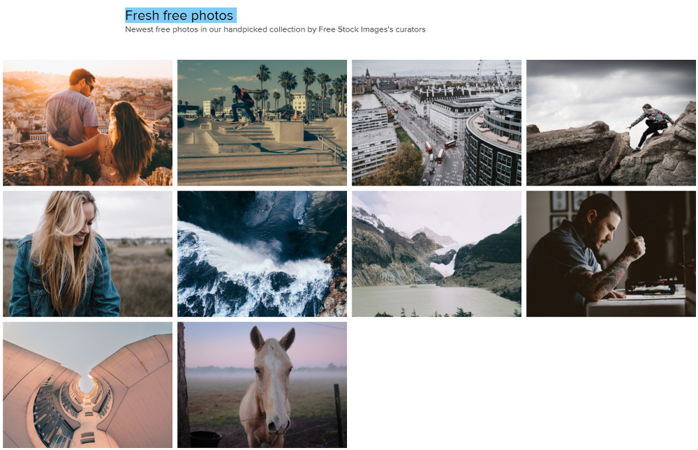 무료 고화질 이미지들을 큐레이션 해서 보여주는  Free Stock Images