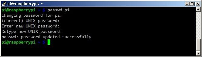 라즈베리파이 리눅스 passwd 명령어 실행