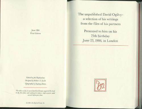 데이비드 오길비가 자신의 75번째 생일, 파트너들에게 남겼던 비공개 서적