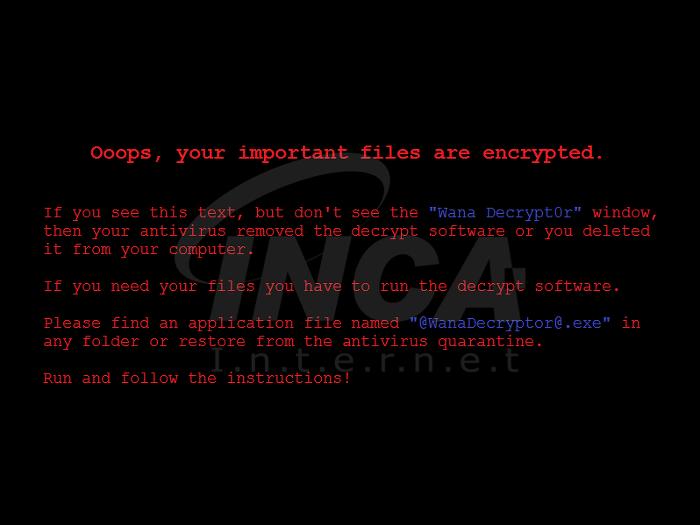 [그림 2]  'WannaCryptor' 랜섬웨어에 감염 된 사용자 바탕화면