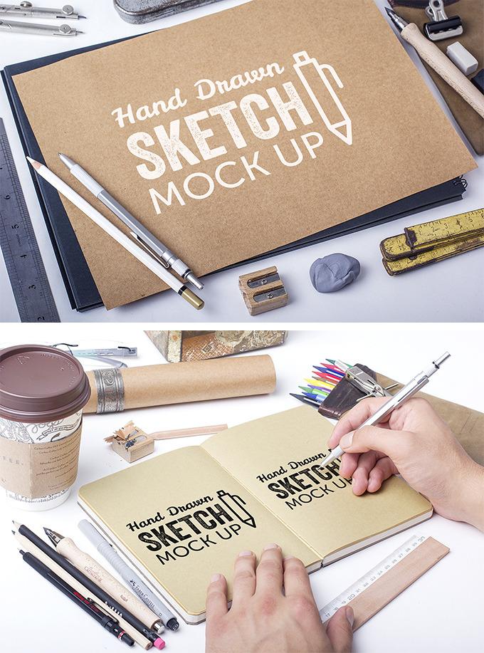 작업의 전문성이 느껴지게 하는 스케치북 목업 PSD - Free Hand Drawn Sketch Mockup