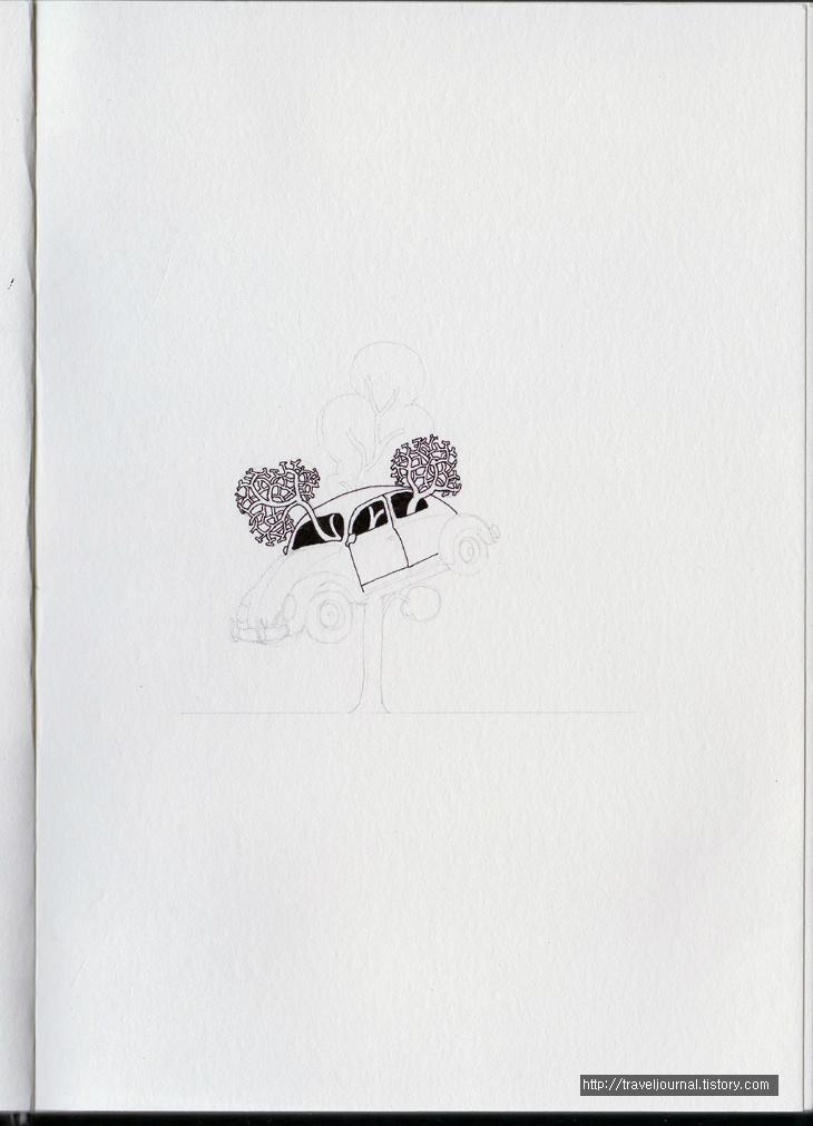 dimo beetle tree 만년필 펜화 과정2