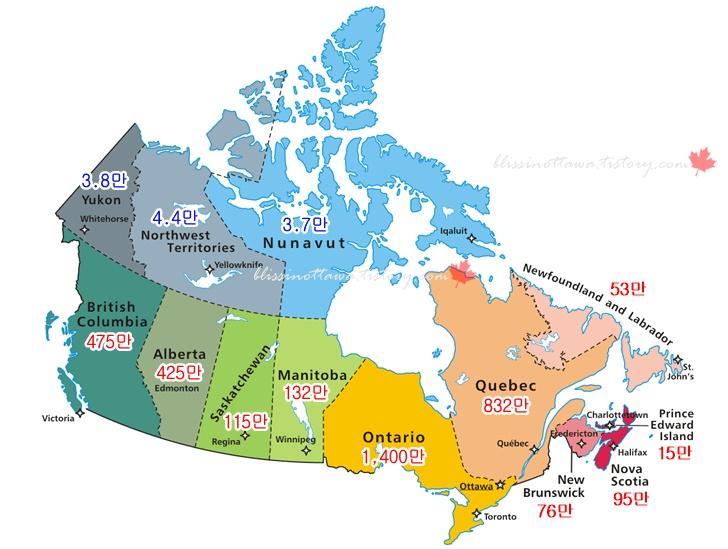 캐나다 인구 분포도입니다