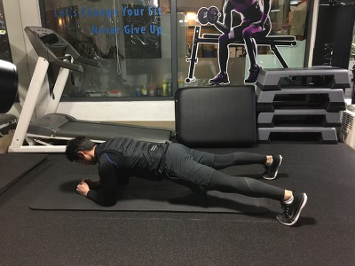 다이아고널 암 리프트 와이드 스탠스 플랭크 - Wide Stance Plank with Diagonal Arm Lift