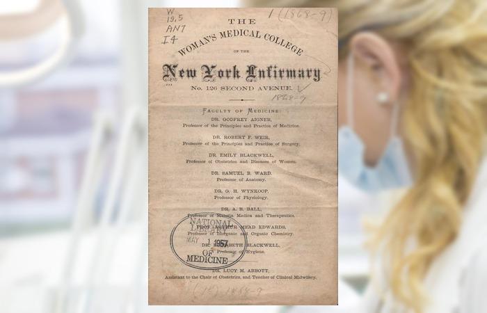 사진: 뉴욕 제네바 의과대학의 공고. 아래쪽을 보면 엘리자베스 블랙웰의 이름이 보인다. 최초의 여성 의사가 되기 위해 찬반 투표를 통해 입학하는 역사가 담긴 공문이다. [퀘이커교와 의료 현실의 문제점]