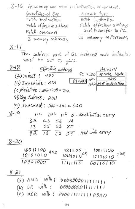 컴퓨터구조 연습문제, 모리스 마노 챕터8 54
