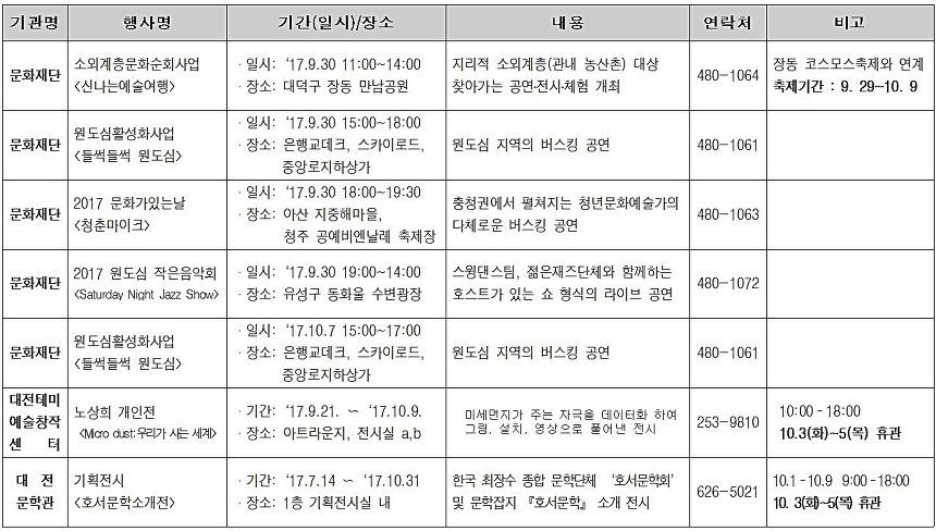 2017 추선연휴 대전 행사 모음