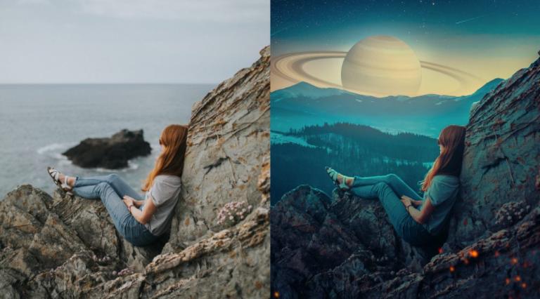 포토샵 합성 혹성이 보이는 하늘을 보는 소녀 만드는 방법