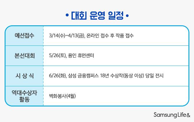 삼성생명 미술작품공모전 대회운영일정
